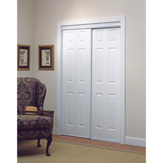 Erias 106 Series 71 In. W. x 80-1/2 In. H. White Vinyl Clad 6-Panel Bypass Door