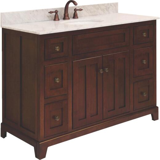 Sunny Wood Grand Haven Cherry 48 In. W x 34 In. H x 21 In. D Vanity Base, 2 Door/6 Drawer