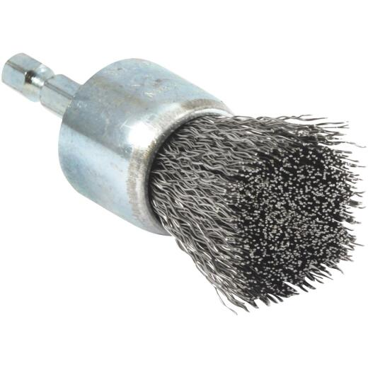 Forney 1 In. Hex .008 In. Drill-Mounted Wire Brush