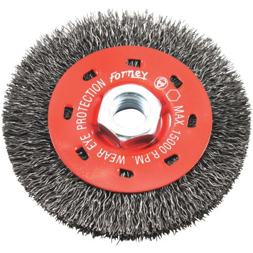 Forney 4 In. Crimped 0.012 In. Angle Grinder Wire Wheel