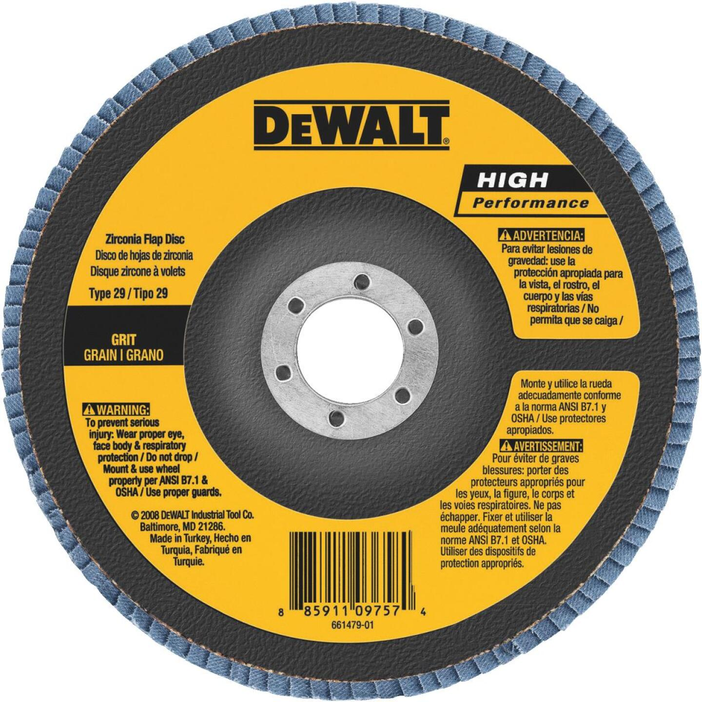 DeWalt High Performance 6 In. x 5/8 In.-11 60-Grit Type 29 Angle Grinder Flap Disc Image 1