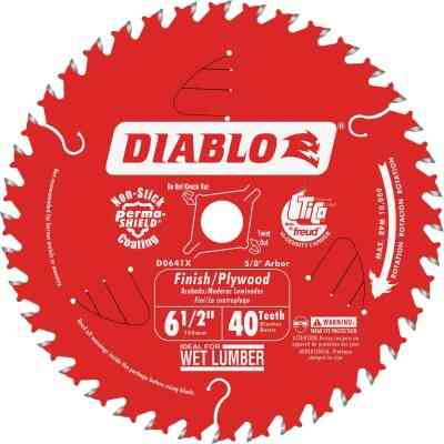 Diablo 6-1/2 In. 40-Tooth Finish/Plywood Circular Saw Blade, Bulk