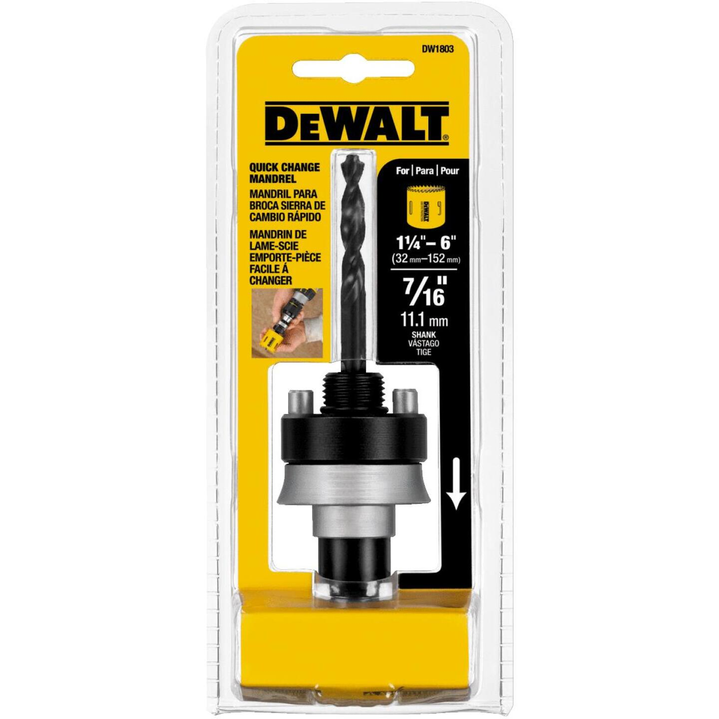 DeWalt 7/16 In. Hex Shank Hole Saw Mandrel Fits Hole Saws Fits Hole Saws 1-1/4 In. to 6 In. Image 4