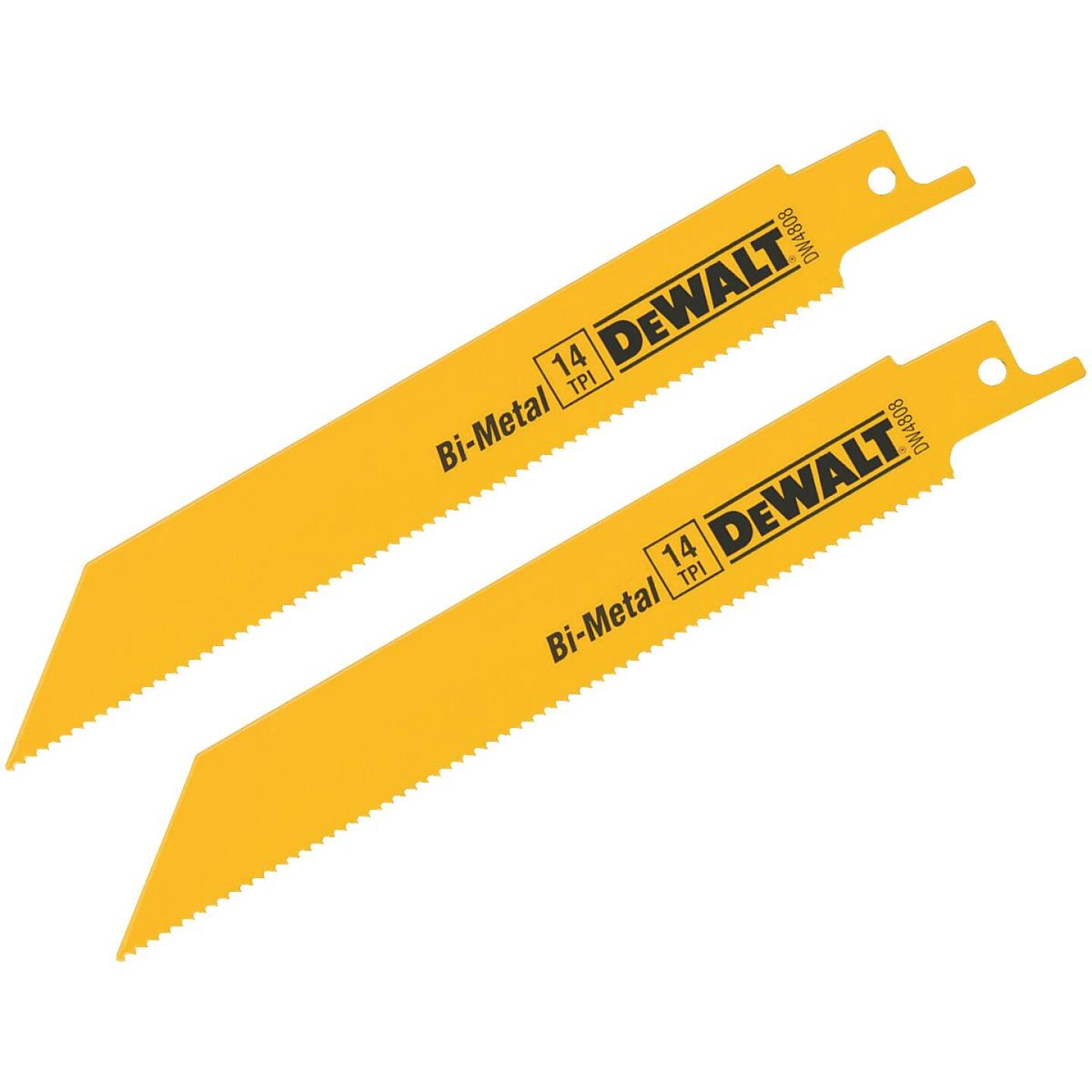 DeWalt 6 In. 14 TPI Thick Metal Reciprocating Saw Blade (2-Pack) Image 1