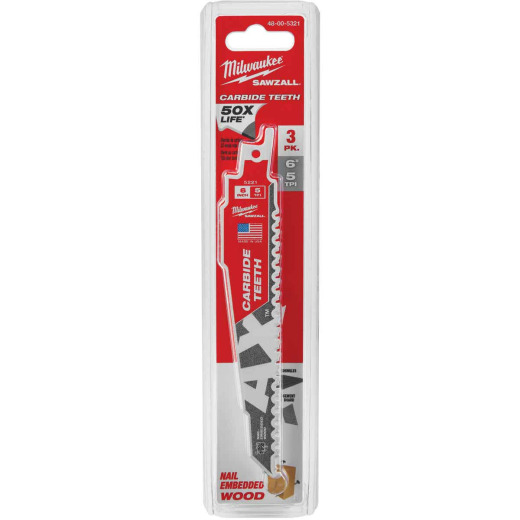 Milwaukee Sawzall THE AX 6 In. 5 TPI Wood w/Nails Demolition Reciprocating Saw Blade with Carbide Teeth (3-Pack)