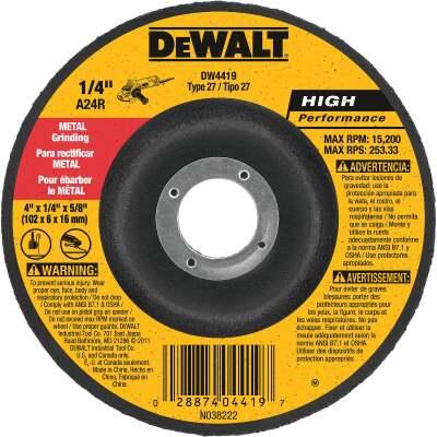 DeWalt HP Type 27 4 In. x 1/4 In. x 5/8 In. Metal Grinding Cut-Off Wheel