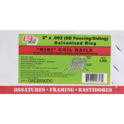 Grip-Rite 15 Degree Wire Weld Galvanized Coil Siding Nail, 2 In. x .092 In. (3000 Ct.)
