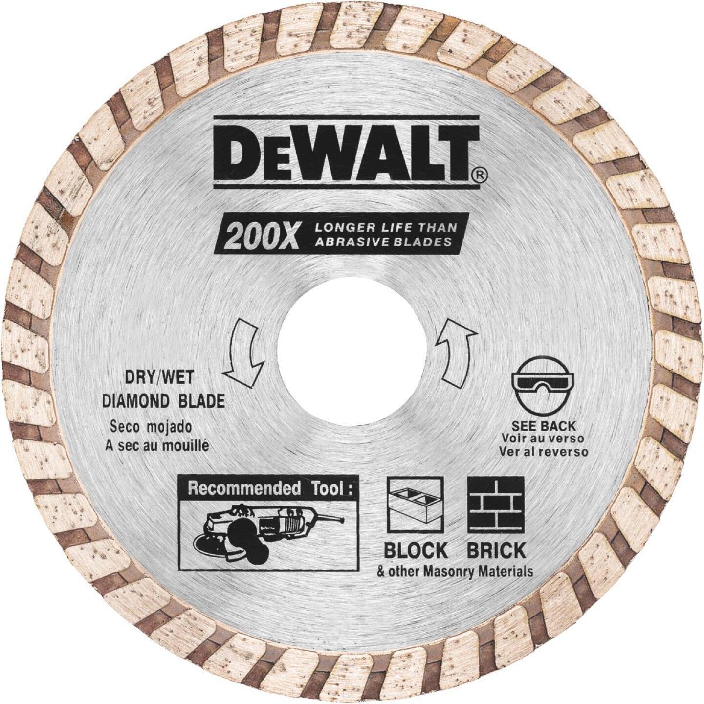 DeWalt High Performance 4 In. Turbo Rim Dry/Wet Cut Diamond Blade, Bulk Image 1