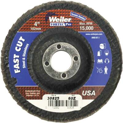 Weiler Vortec 4 In. x 5/8 In. 60-Grit Type 29 Angle Grinder Flap Disc