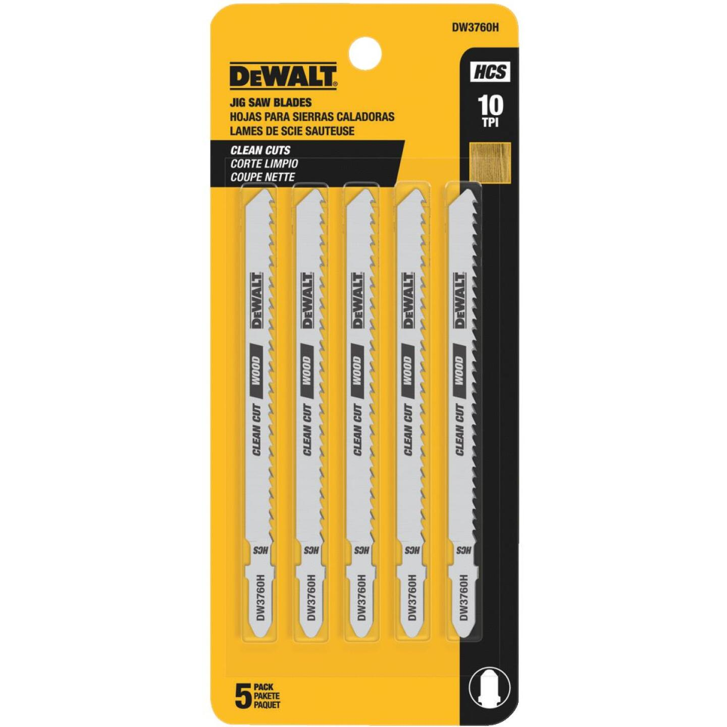 DeWalt T-Shank 4 In. x 10 TPI High Carbon Steel Jig Saw Blade, Fine Finish Wood (5-Pack) Image 2