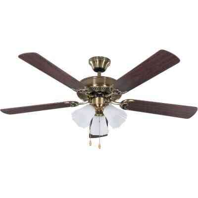 Home Impressions Sherwood 52 In. Antique Brass Ceiling Fan with Light Kit