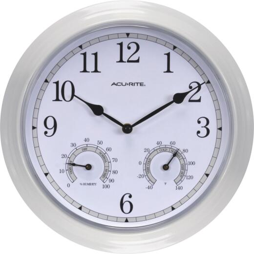 Acurite 13.5 In. White Clock/Thermometer/Hygrometer