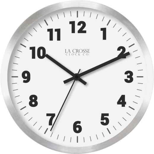 La Crosse Technology Round Brushed Silver Metal Wall Clock