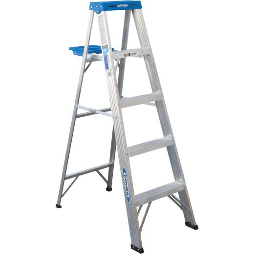 Werner 5 Ft. Aluminum Step Ladder with 250 Lb. Load Capacity Type l Ladder Rating