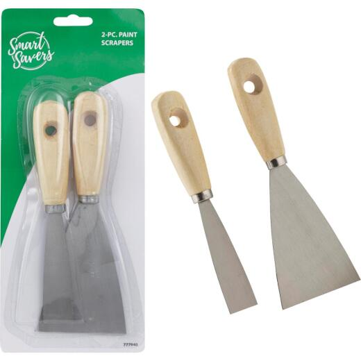 Smart Savers Wooden Handle Steel Blade Putty Knife Scraper Set, (2-Piece)