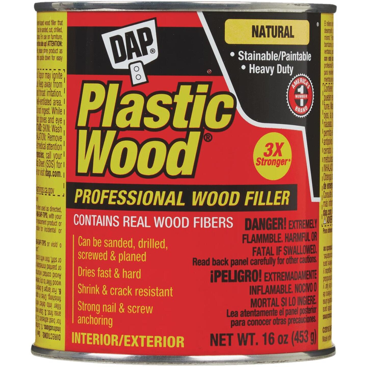 DAP Plastic Wood 16 Oz. Natural Solvent Professional Wood Filler Image 2