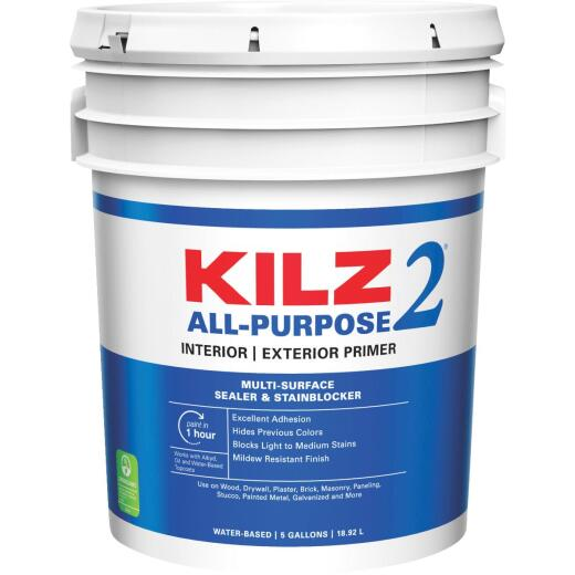 KILZ 2 Latex Interior/Exterior Sealer Stain Blocking Primer, White, 5 Gal.